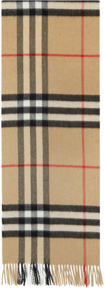 Burberry Beige and Tan Cashmere Check Giant Scarf
