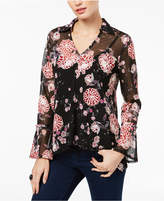 INC International Concepts Petite Printed Mesh Bell-Sleeve Top, Created for Macy's
