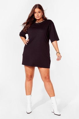 Nasty Gal Womens Never Crew Love Plus Tee Dress - Black - 16, Black