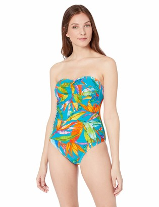 Chaps Women's Rouched Front Bandeau One Piece Swimsuit