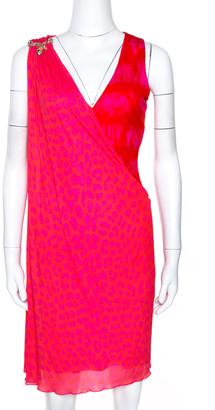 Roberto Cavalli Pink Printed Jersey Serpent Brooch Detail Shift Dress M