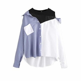 Lazzboy Shirt Tops Womens Cold Shoulder Knitted Collar Striped Long Sleeve Button Loose Ladies Blouse UK 10-18(L(14)