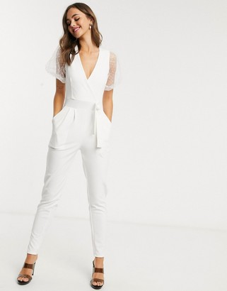 Outrageous Fortune wrap front jumpsuit with organza puff sleeve detail in white