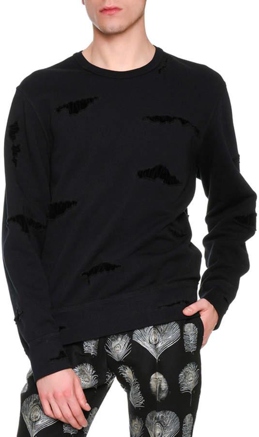 Alexander McQueen Distressed Patched Pullover Sweatshirt