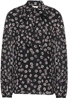 Tory Burch Pussy-bow Floral-print Silk-crepe Blouse