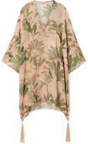 Adriana Degreas - Toucan Tasseled Printed Silk-chiffon Kaftan - Blush