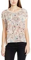 Vero Moda Women's VMOLIVIA STAR SS WIDE TOP DNM JRS T-Shirt, Multicoloured (Ivory Cream)