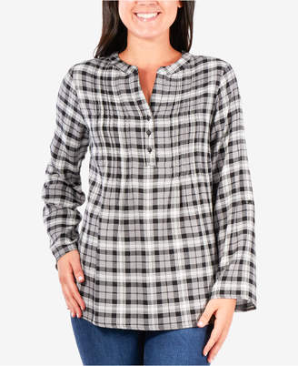 NY Collection Plaid Henley Top