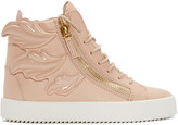 Giuseppe Zanotti Pink Leather Wings London High-top Sneakers