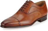 Magnanni Hand-Antiqued Perforated Leather Oxford, Brown