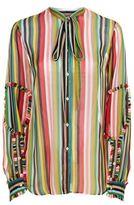 No.21 No. 21 Striped Silk Blouse