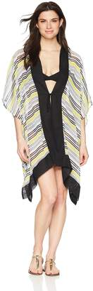 Coastal Blue Women's Swimwear Tie Front Kimono Cover Up