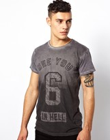 Religion T-Shirt in Dip Dye with See You in Hell Print