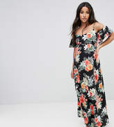 Queen Bee Maternity Floral Cold Shoulder Maxi Dress
