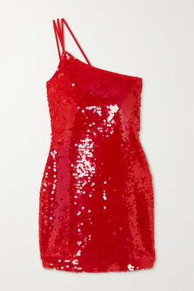 De La Vali One-shoulder Sequined Crepe Mini Dress - Red