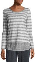 Max Studio Striped Long-Sleeve Top, Charcoal/Light Gray