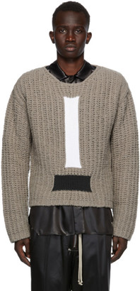Rick Owens Grey Wool Cable Knit Sweater