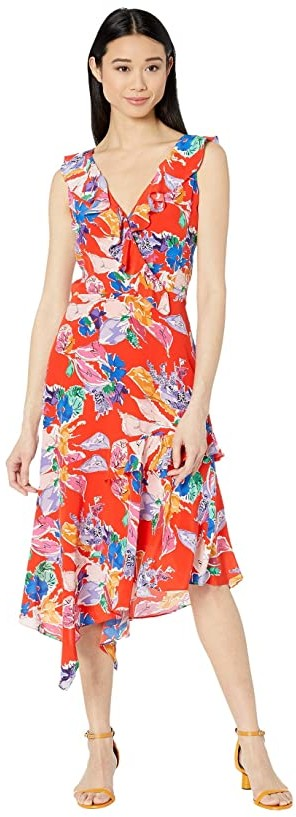 Milly Bouquet Floral Silk Crepe De Chine Alexis Dress (Red Multi) Women's Clothing
