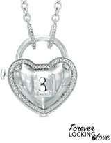 Zales Forever Locking LoveTM 1/10 CT. T.W. Diamond Heart-Shaped Lock Necklace in Sterling Silver