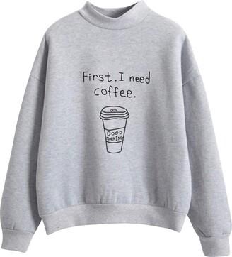 Aogoto Women Hoodie Women O-Neck Pullover Solid Color Coffee Cup Pattern Long Sleeve Plus Velvet Sweatshirt