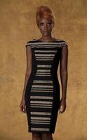 Theia 881797 Gilded Stripes Bodycon Cocktail Dress