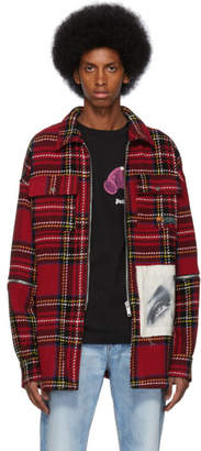 Palm Angels Red Check Wool Zipped Over Shirt