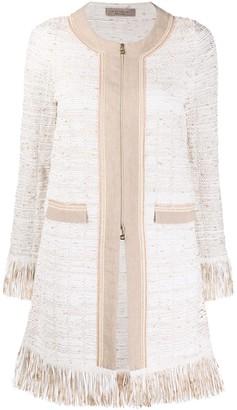 D-Exterior Zipped-Up Tweed Coat