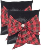Safavieh Tartan Bow Throw Pillows in Holiday Plaid (Set of 2)