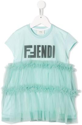 Fendi Kids Logo Ruffle T-Shirt