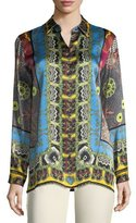 Etro Button-Front Mandala-Print Silk Shirt