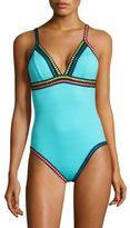 La Blanca Swim Grossgrain Ribbon Trimmed One-Piece Swimsuit