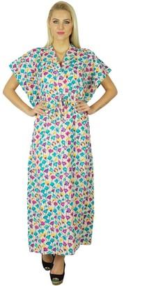 Bimba Women Cotton Long Kaftan Printed Maxi Floral Caftan Boho Chic Beach Coverup Blue and Off White