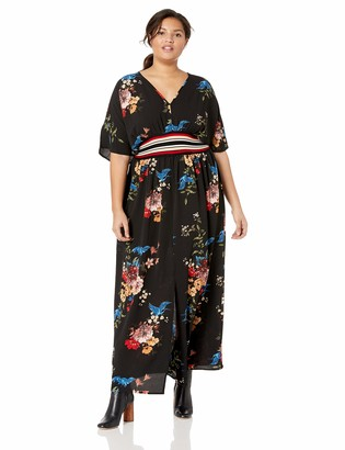City Chic Women's Apparel Women's Plus Size Batwing Printed Maxi Dress