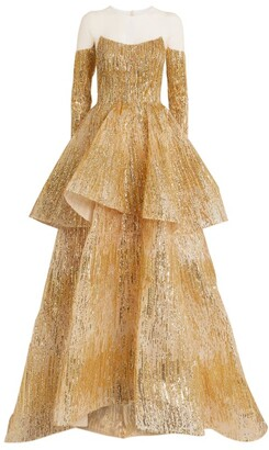 Mikael D Strapless Tiered Crystal Gown