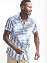 Gap Oxford stripe standard fit short sleeve shirt