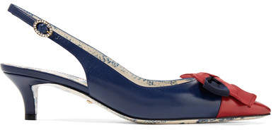 Gucci Bow-embellished Two-tone Textured-leather Slingback Pumps