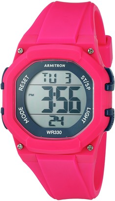 Armitron Sport Women's 45/7080MAG Navy Blue Accented Digital Chronograph Hot Pink Resin Strap Watch
