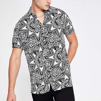 River Island Selected Homme white print regular fit shirt