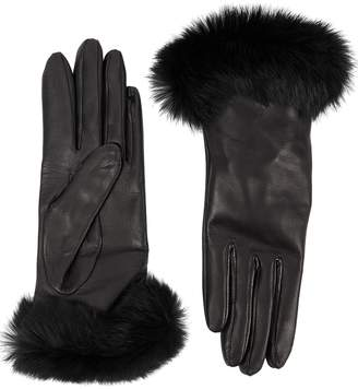 Dents Black Fur-trimmed Leather Gloves