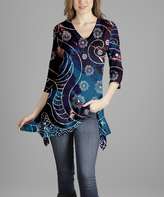 Lily Blue Floral Abstract V-Neck Tunic - Plus Too