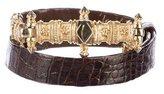 Judith Leiber Alligator Embellished Belt