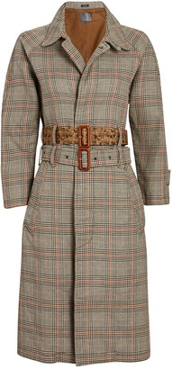 R 13 Double-Belted Plaid Trench Coat