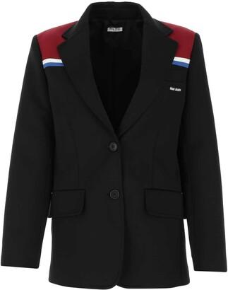 Miu Miu Stripe Detail Single Breasted Blazer