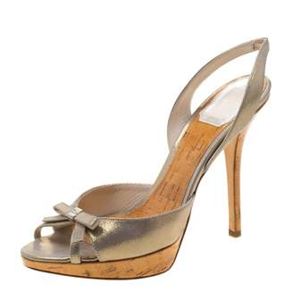 Christian Dior Gold Suede Sandals