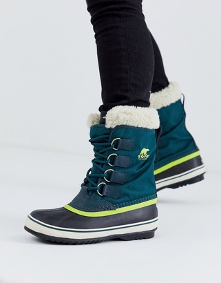 Sorel waterproof winter carnival lace up lined boot in blue