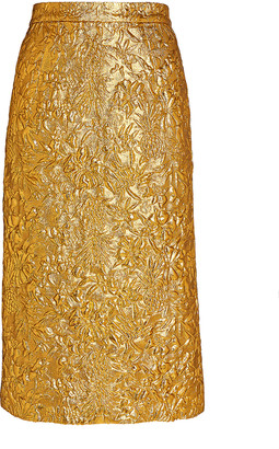 Dundas Metallic Floral Midi Skirt