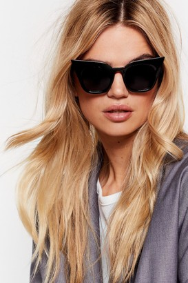 Nasty Gal Womens We See Your Point Tinted Cat-Eye Sunglasses - Black