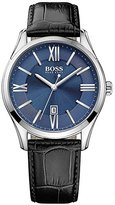 HUGO BOSS Men's 42mm Black Leather Band Steel Case Quartz Blue Dial Analog Watch 1513386