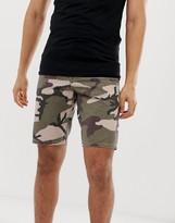 Asos Design DESIGN slim denim shorts in camo print