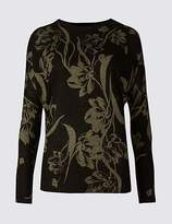 M&S Collection Floral Print Round Neck Jumper